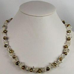 Náhrdelník říční perly a křišťál