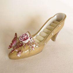 Porcelánový stojánek na prsteny - zlatavý
